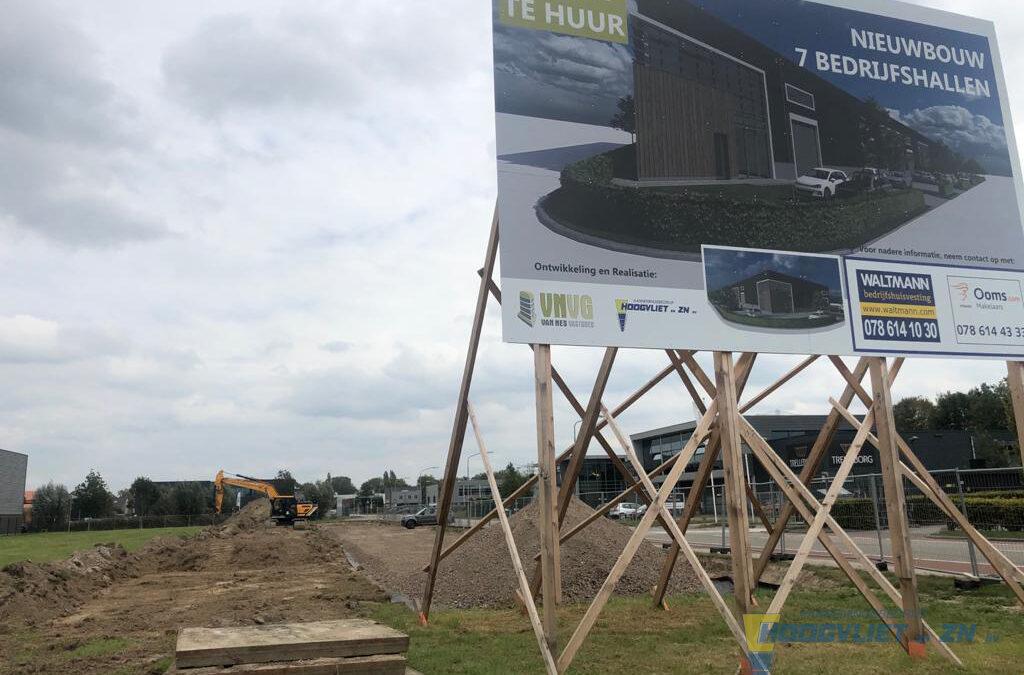 De bouw is gestart: 7 bedrijfshallen aan de Robijn